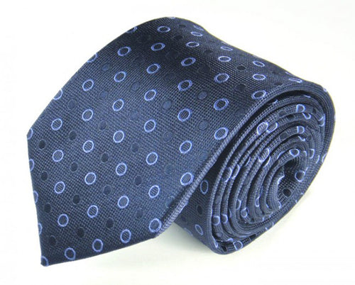 Blue Dotted Silk Tie by Focus Ties (The Yukon - Premium High Quality Silk Business / Wedding Necktie)