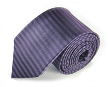 Load image into Gallery viewer, Purple Striped Silk Tie by Focus Ties (The Balearic - Premium High Quality Silk Business / Wedding Necktie)