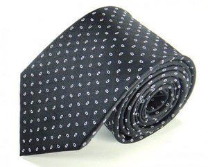 Black Dotted Silk Tie by Focus Ties (The Olympus - Premium High Quality Silk Business / Wedding Necktie)