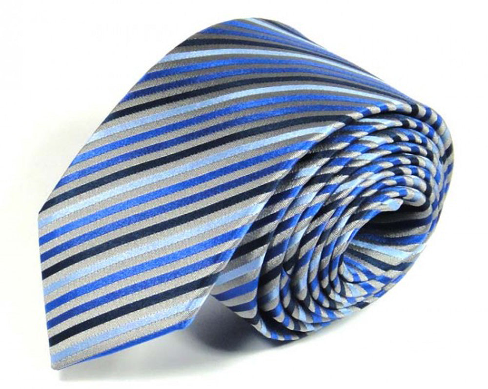Blue Striped Silk Tie by Focus Ties (The Orion - Premium High Quality Silk Business / Wedding Necktie)