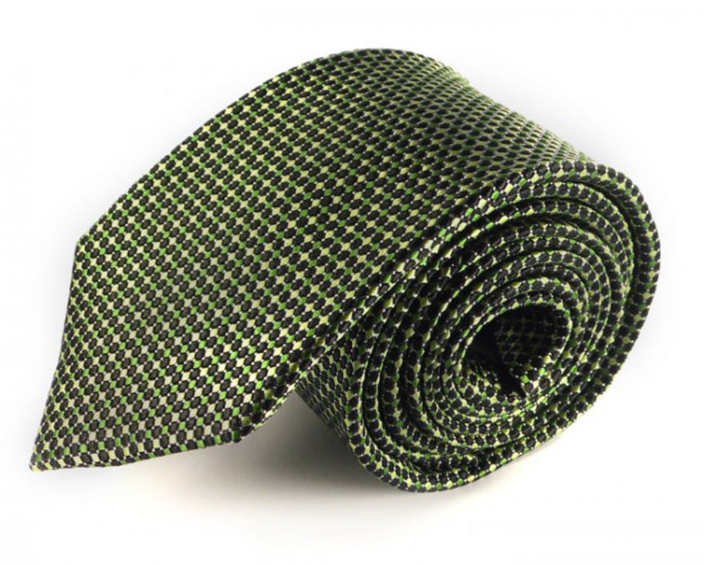 Green Woven Silk Tie by Focus Ties (The Maya - Premium High Quality Silk Business / Wedding Necktie)