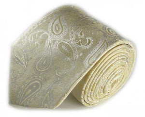 White Paisley Silk Tie by Focus Ties (The Webber - Premium High Quality Silk Business / Wedding Necktie)