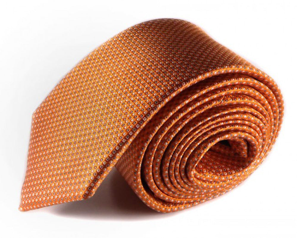 Orange Dotted Silk Tie by Focus Ties (The Brabham - Premium High Quality Silk Business / Wedding Necktie)
