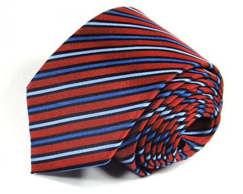 Red Striped Silk Tie by Focus Ties (The Levanto - Premium High Quality Silk Business / Wedding Necktie)