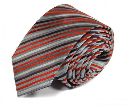 Red Striped Silk Tie by Focus Ties (The Cygnus - Premium High Quality Silk Business / Wedding Necktie)