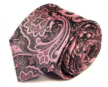 Load image into Gallery viewer, Pink Paisley Silk Tie by Focus Ties (The Veyron - Premium High Quality Silk Business / Wedding Necktie)