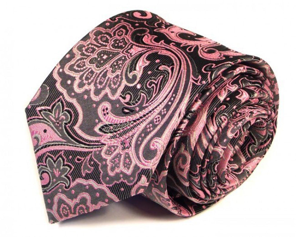 Pink Paisley Silk Tie by Focus Ties (The Veyron - Premium High Quality Silk Business / Wedding Necktie)