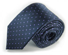 Load image into Gallery viewer, Blue Dotted Silk Tie by Focus Ties (The McKinley - Premium High Quality Silk Business / Wedding Necktie)