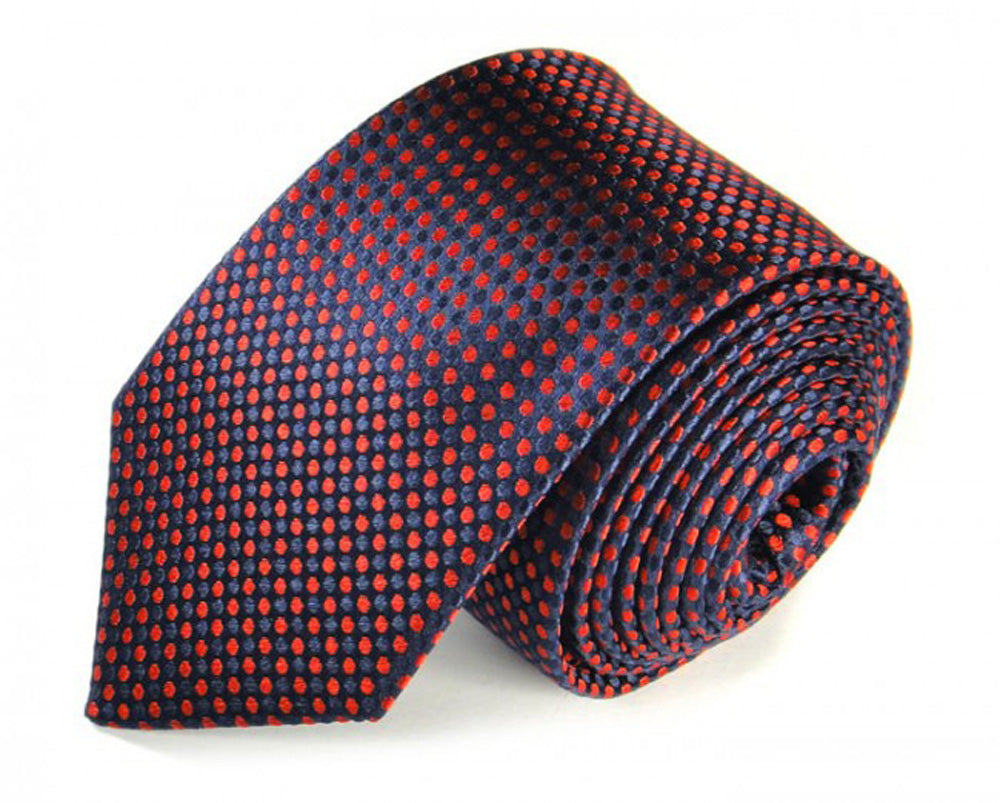 Red Dotted, Woven Silk Tie by Focus Ties (The Moss - Premium High Quality Silk Business / Wedding Necktie)