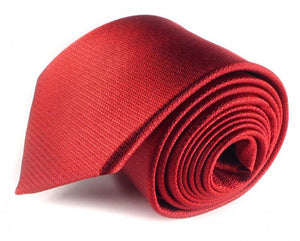 Red Solid, Woven Silk Tie by Focus Ties (The Andretti - Premium High Quality Silk Business / Wedding Necktie)