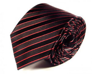 Black Striped Silk Tie by Focus Ties (The Erta - Premium High Quality Silk Business / Wedding Necktie)