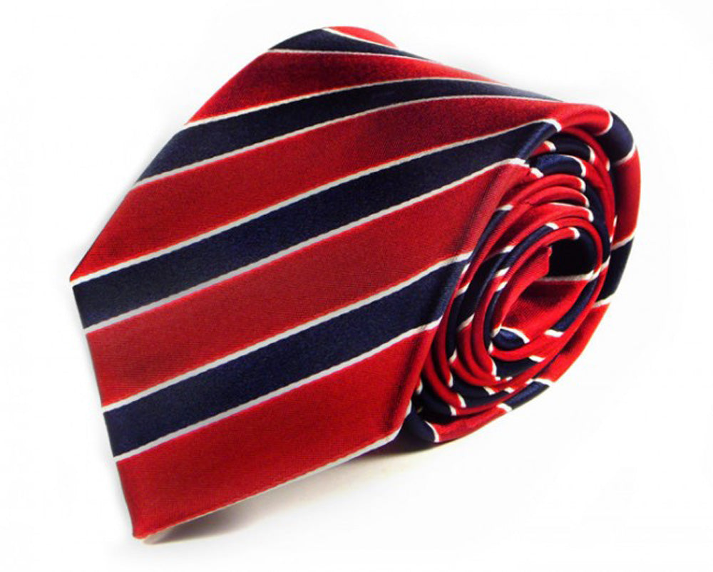 Red Striped Silk Tie by Focus Ties (The Alayta - Premium High Quality Silk Business / Wedding Necktie)