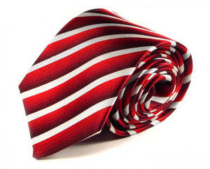 Red Striped Silk Tie by Focus Ties (The Adwa - Premium High Quality Silk Business / Wedding Necktie)