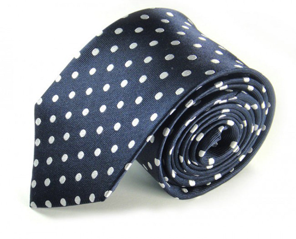 Blue Dotted Silk Tie by Focus Ties (The Moroto - Premium High Quality Silk Business / Wedding Necktie)
