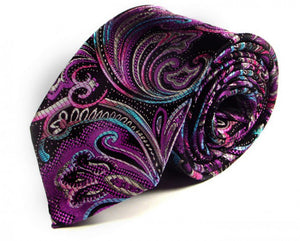 Black Paisley Silk Tie by Focus Ties (The Dubbi - Premium High Quality Silk Business / Wedding Necktie)