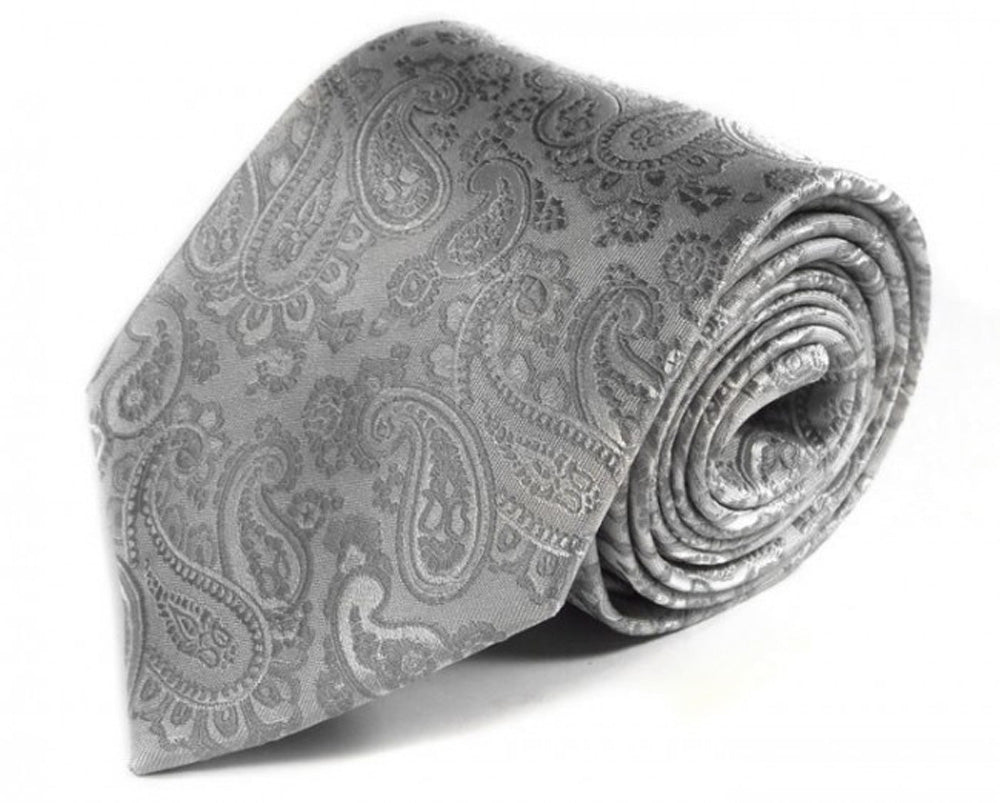 Silver Paisley Silk Tie by Focus Ties (The Alcedo - Premium High Quality Silk Business / Wedding Necktie)