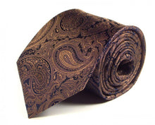 Load image into Gallery viewer, Gold Paisley Silk Tie by Focus Ties (The Methana - Premium High Quality Silk Business / Wedding Necktie)