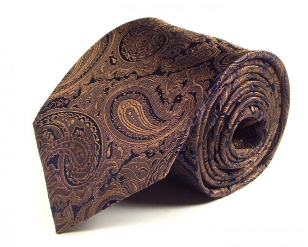 Gold Paisley Silk Tie by Focus Ties (The Methana - Premium High Quality Silk Business / Wedding Necktie)