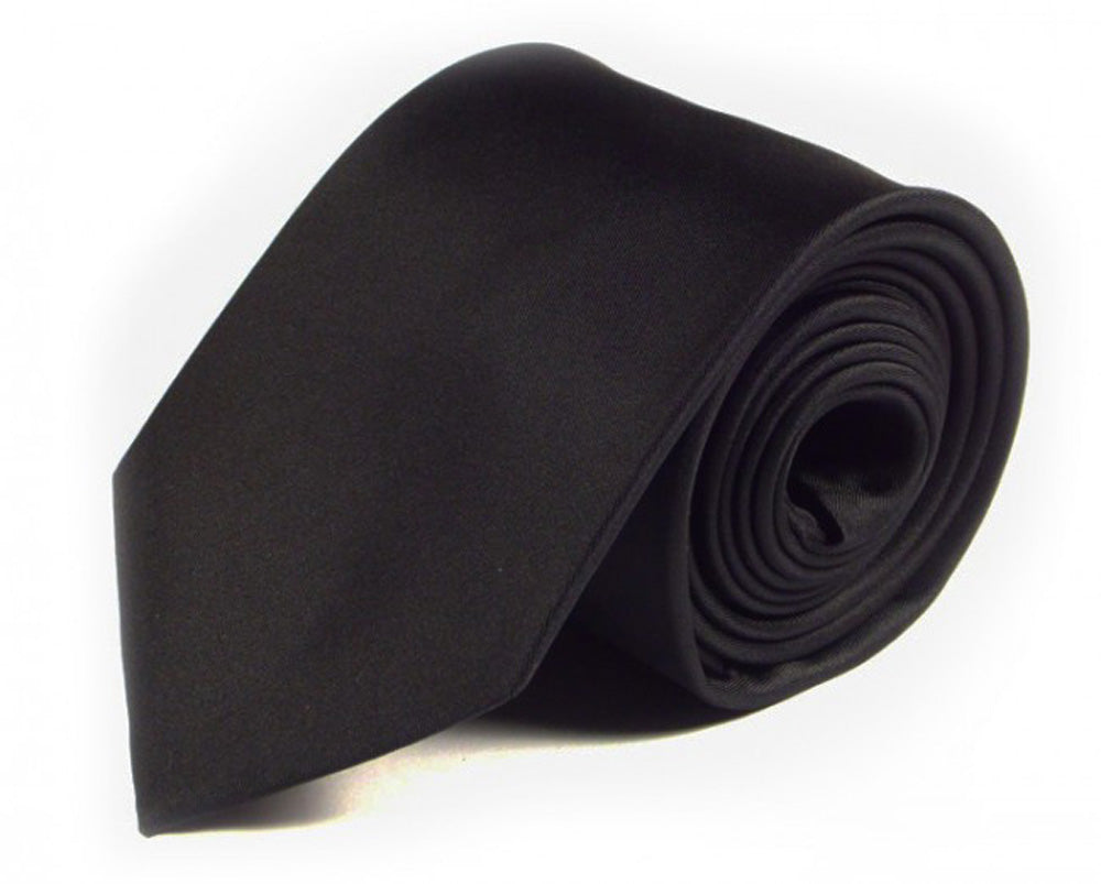 Black Solid Silk Tie by Focus Ties (The Pacaya - Premium High Quality Silk Business / Wedding Necktie)