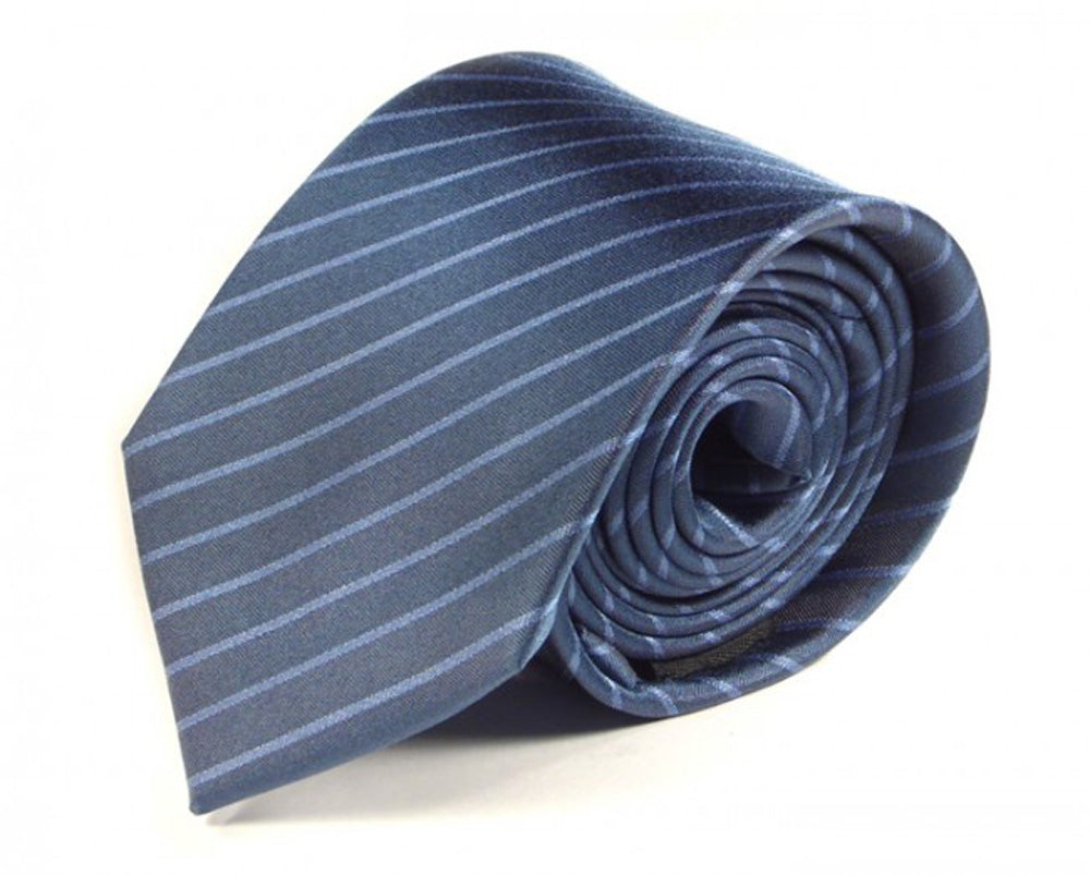 Blue Striped Silk Tie by Focus Ties (The Katla - Premium High Quality Silk Business / Wedding Necktie)