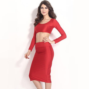 Women Two Pieces Long Sleeve Skirt