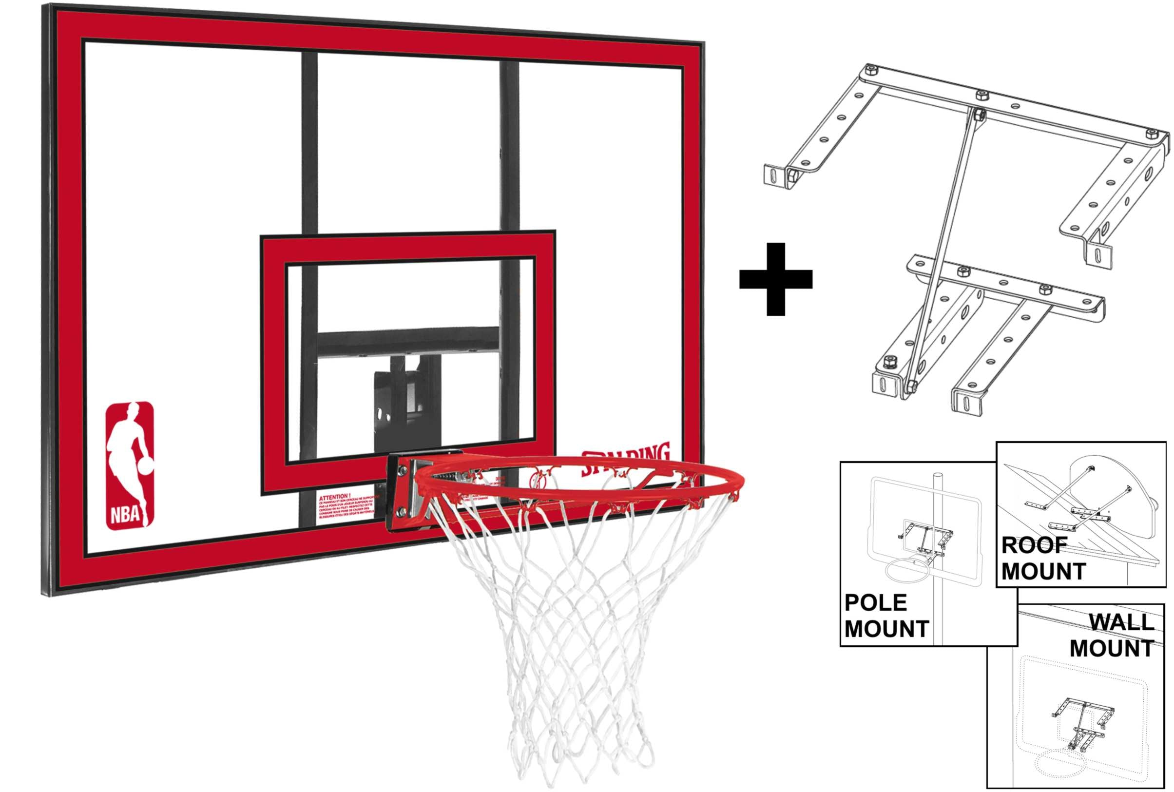 Spalding NBA Polycarbonate Backboard and Ring with Mounting Bracket - Clear/Red