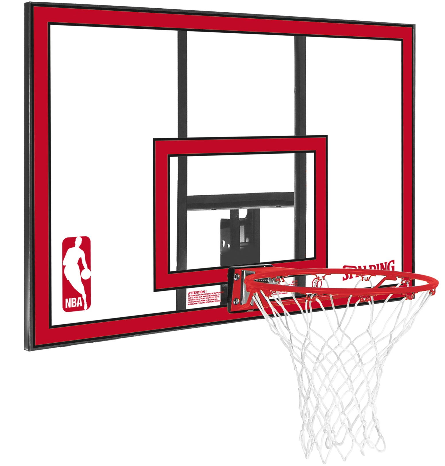 Spalding NBA Replacement Polycarbonate Backboard and Ring - Clear/Red