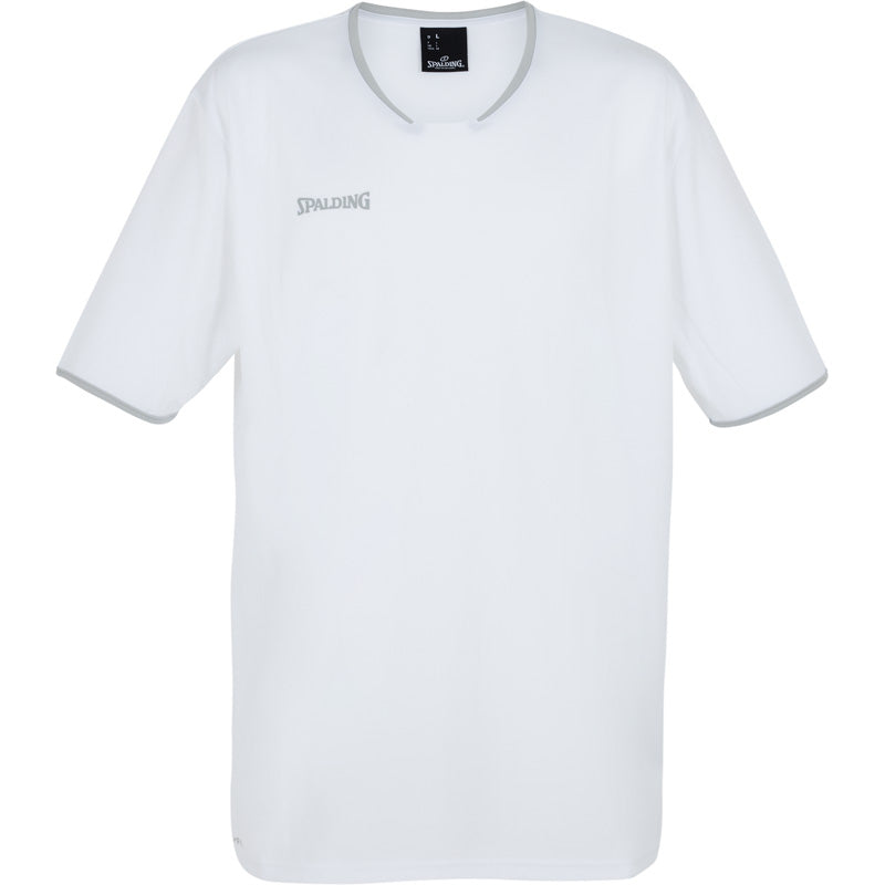 Teamwear - Spalding Men's Move Short Sleeved Shooting Shirt - White/Silver Grey - SP-3002141-02