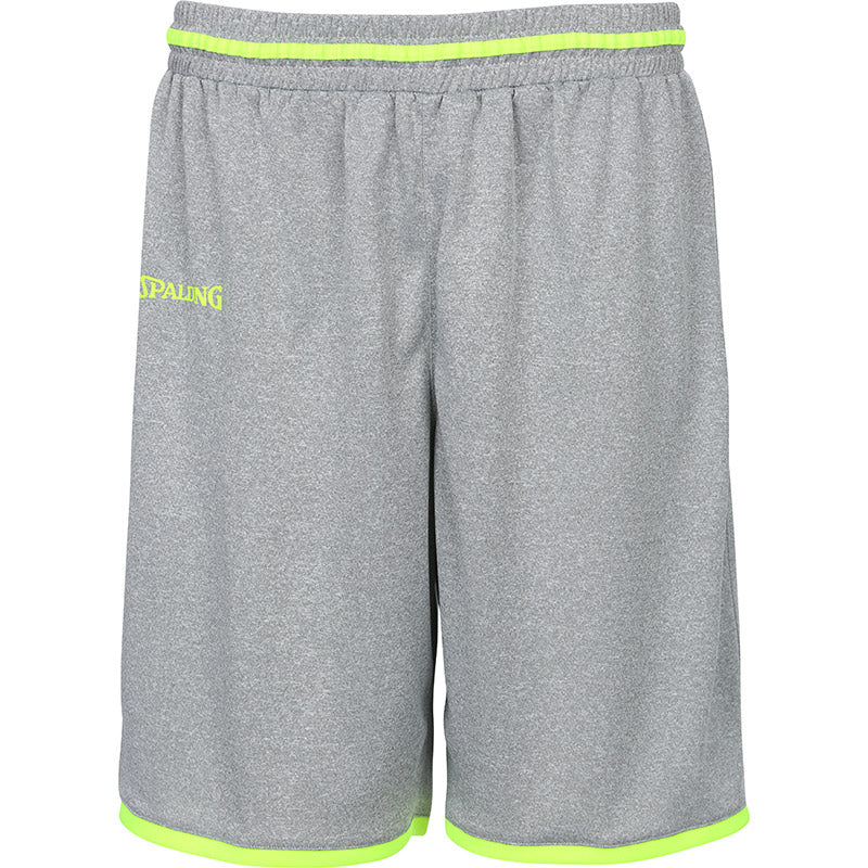 Teamwear - Spalding Men's Move Shorts - Dark Grey Mellange/Fluo Yellow - SP-3002140-09-3005140-09