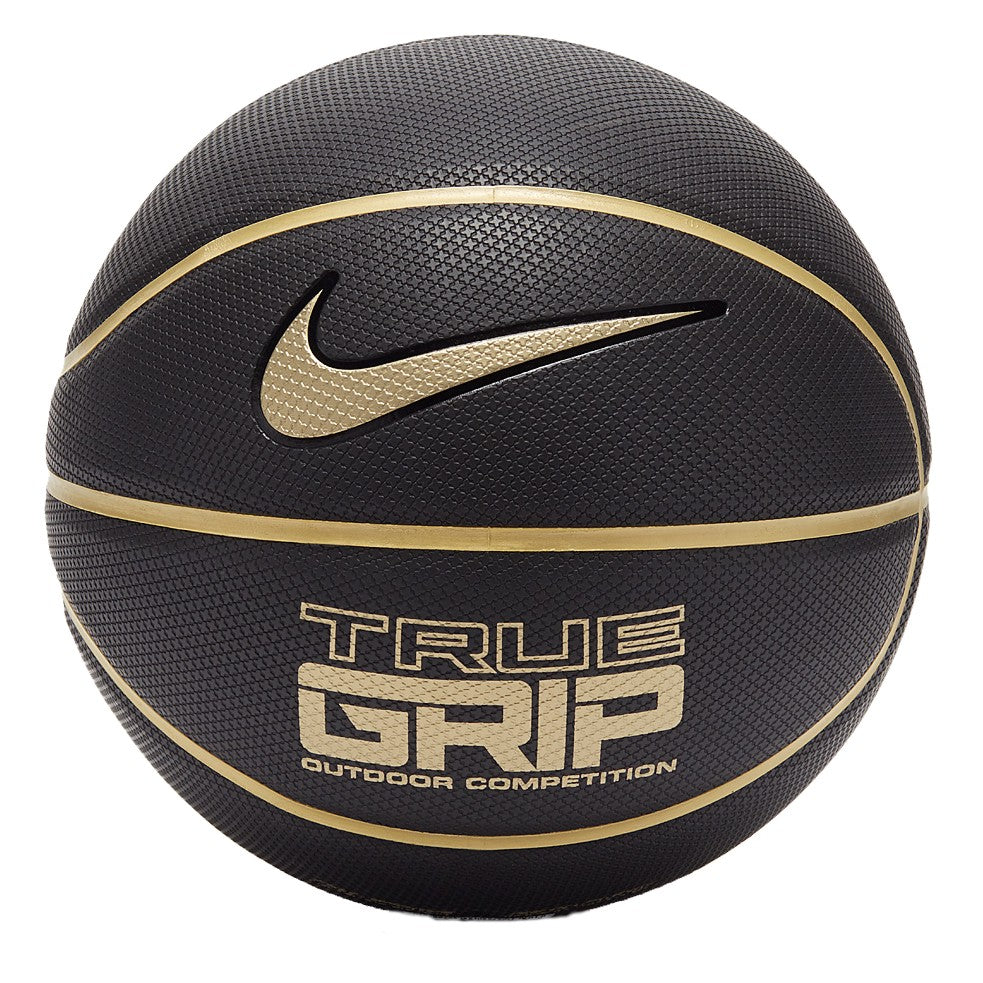 Nike True Grip 8 Panel Basketball - Size 7 - Black/Metallic Gold