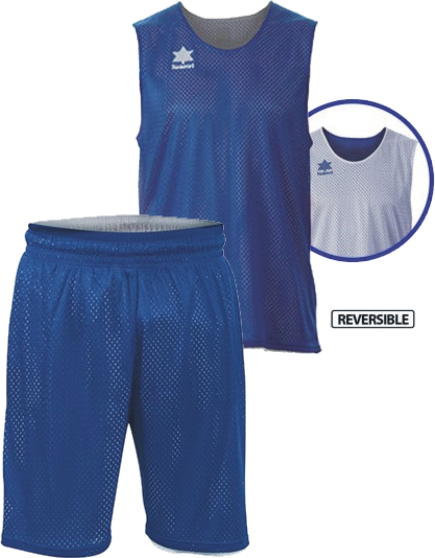 Luanvi Kids Triple Reversible Basketball Kit - Royal Blue/White LU-08484-1502-08485-1502