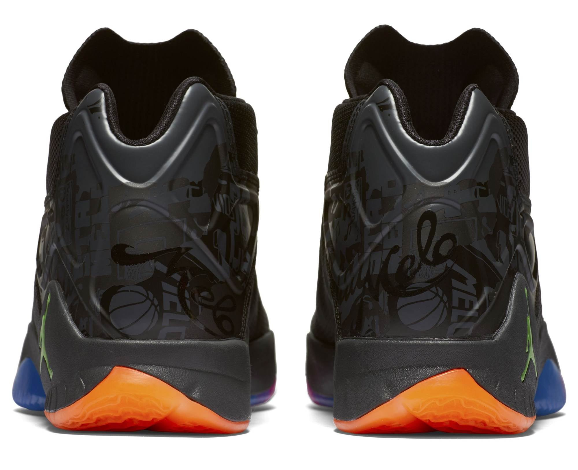 Nike Jordan Melo M12 Basketball Boot/Shoe - Black/Green Ghost/Pink/Orange/Blue
