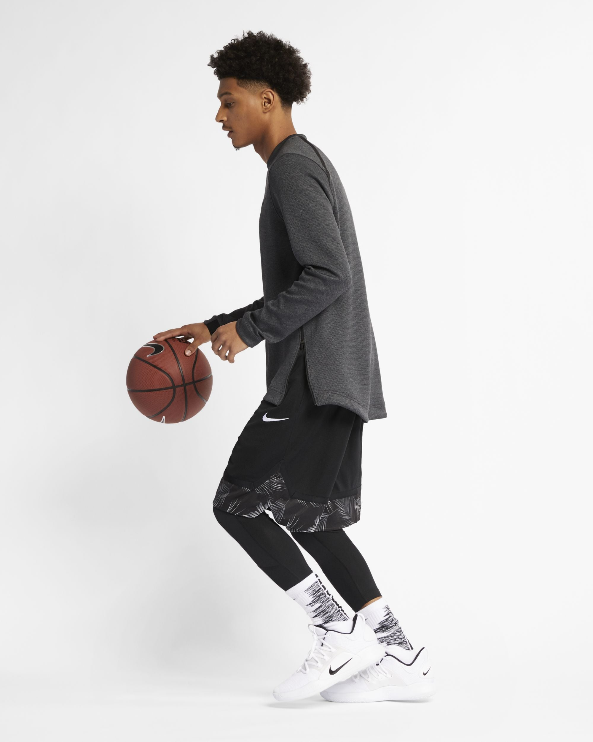 Nike Basketball Therma Flex Long Sleeved Top - Black Heather/Black