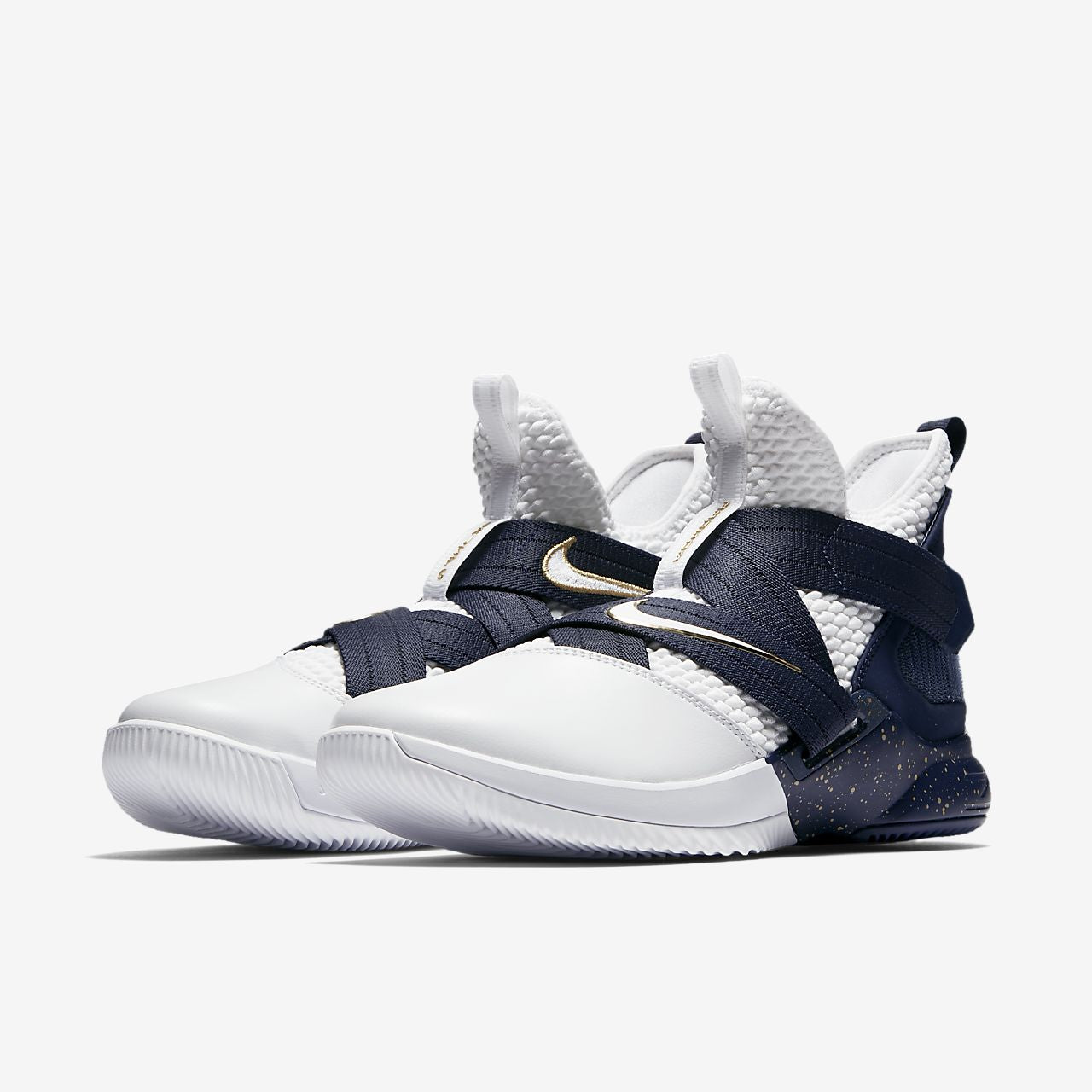 Nike Lebron Soldier XII SFG Basketball Boot/Shoe - White/Midnight Navy/Mineral Yellow