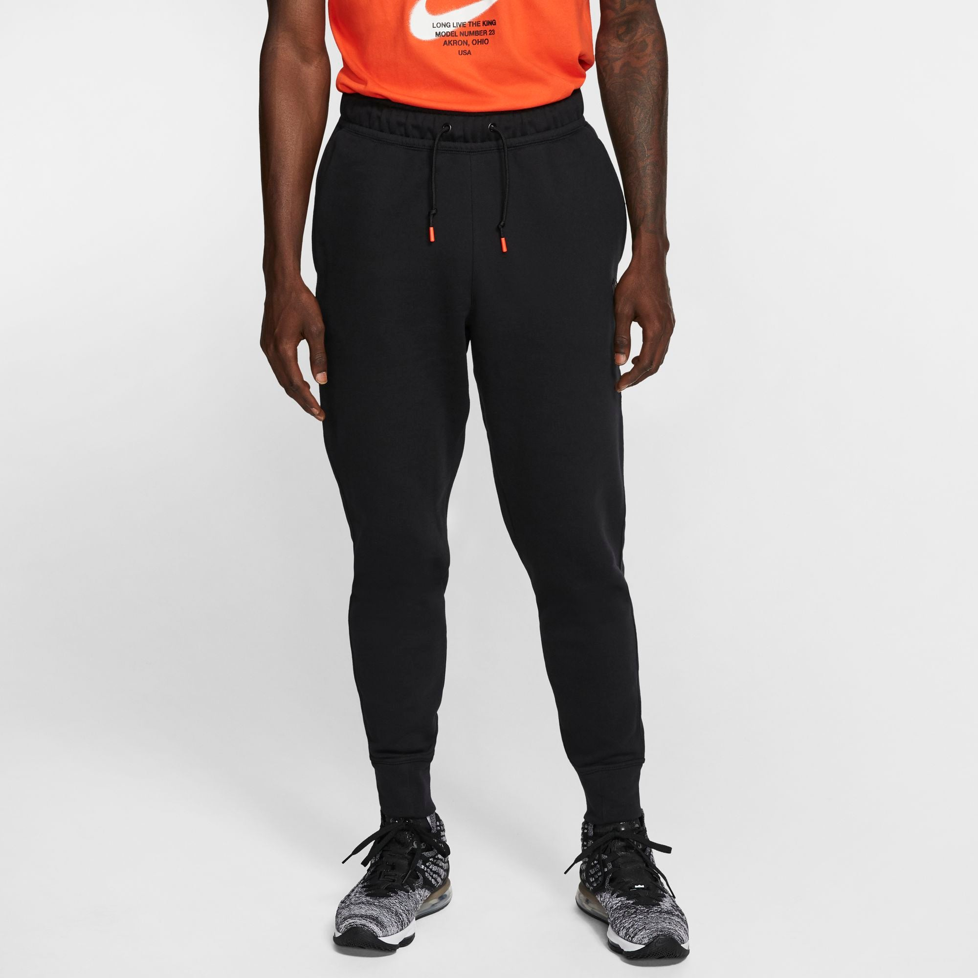 Nike Lebron Fleece Basketball Pants - Black/Team Orange