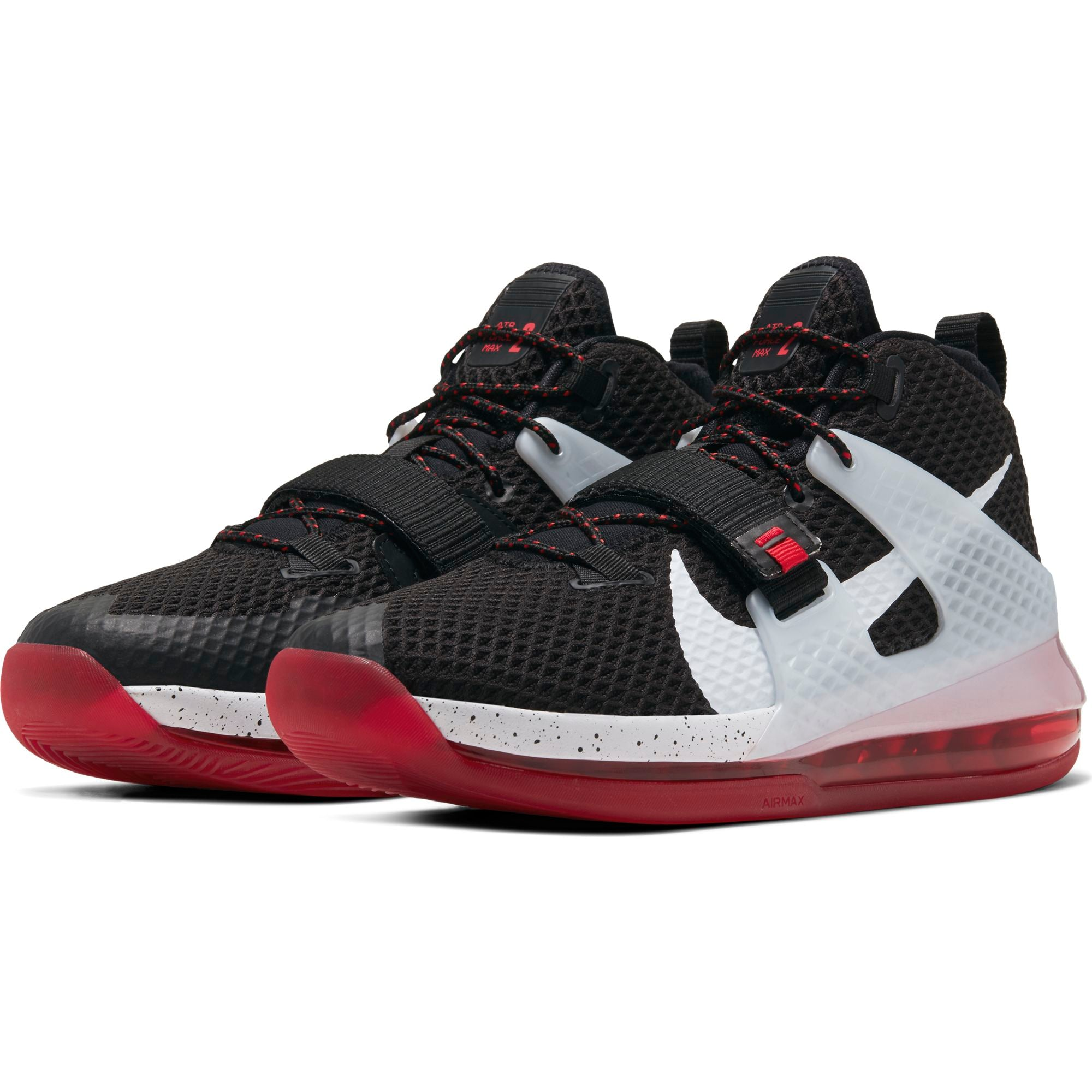 Nike Basketball Air Force Max II Basketball Boot/Shoe - Black/White/University Red/Wolf Grey