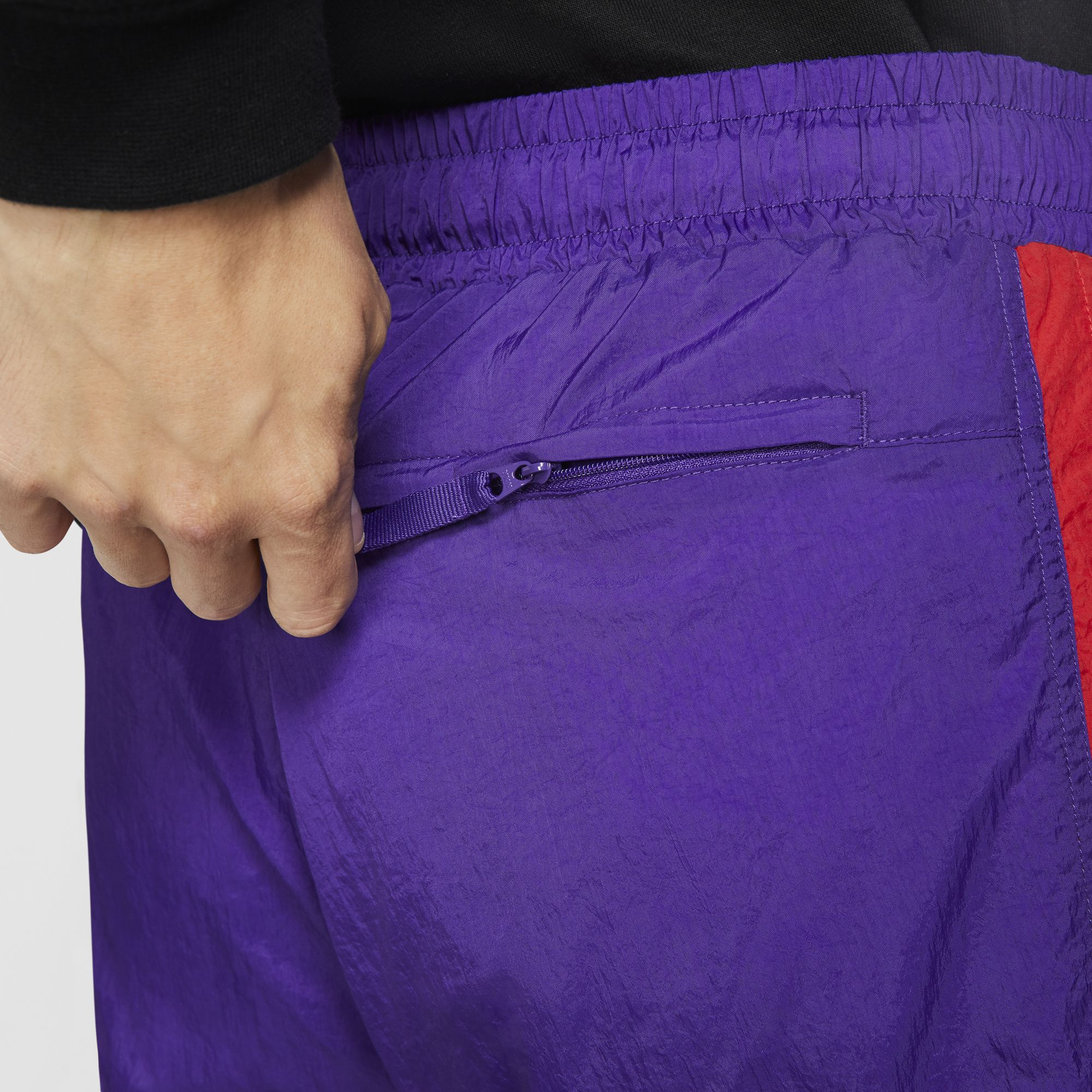 Nike Basketball Throwback Woven Pants - Court Purple/University Red/White