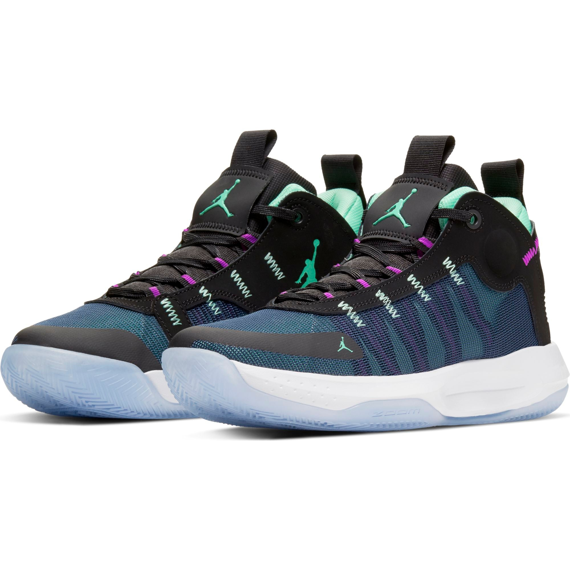 Nike Jordan Jumpman 2020 Basketball Boot/shoe - Black/Green Glow/Blue Void/Hyper Violet