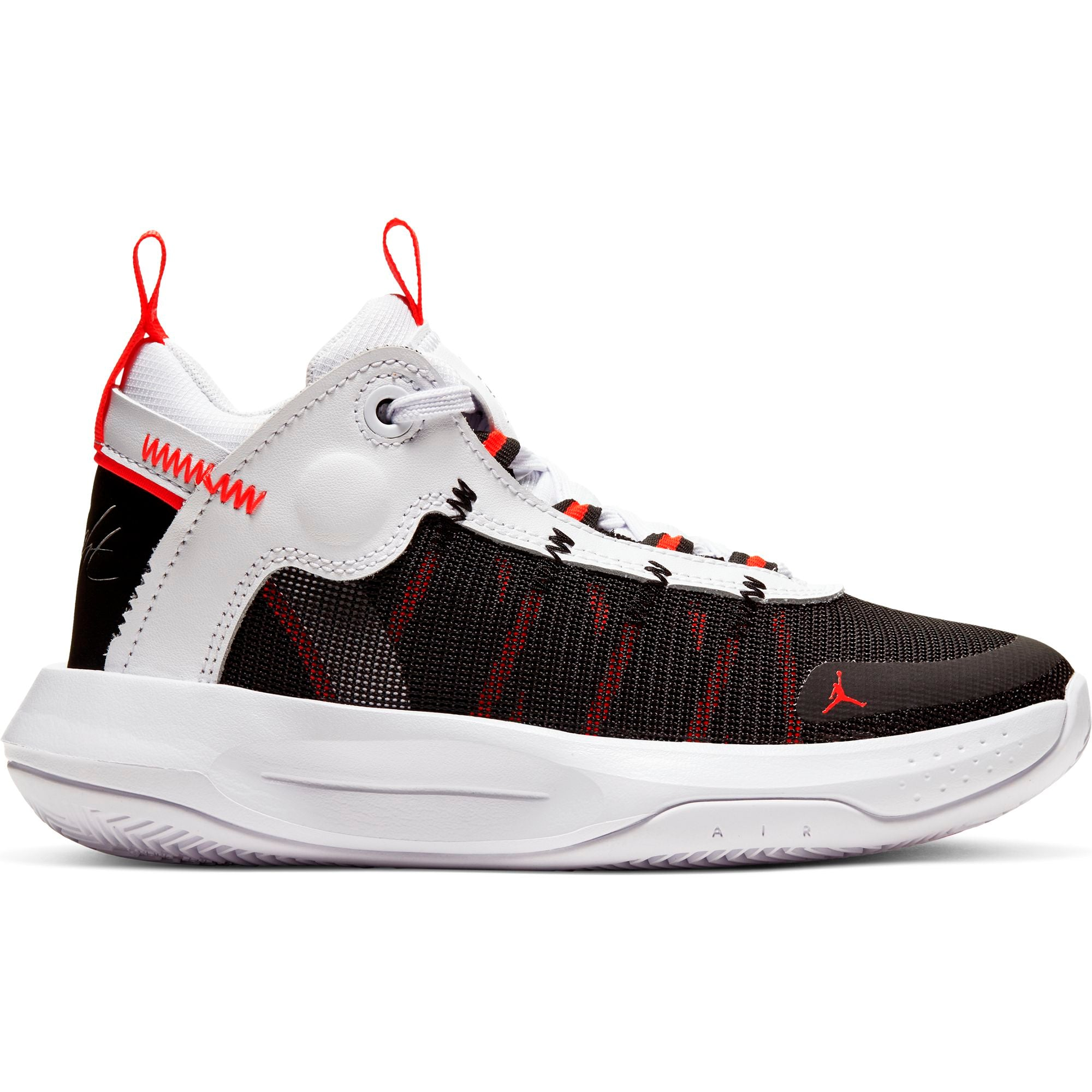 Nike Kids Jordan Jumpman 2020 Basketball Boot/shoe - White/Metallic Silver/Black/Red Orbit