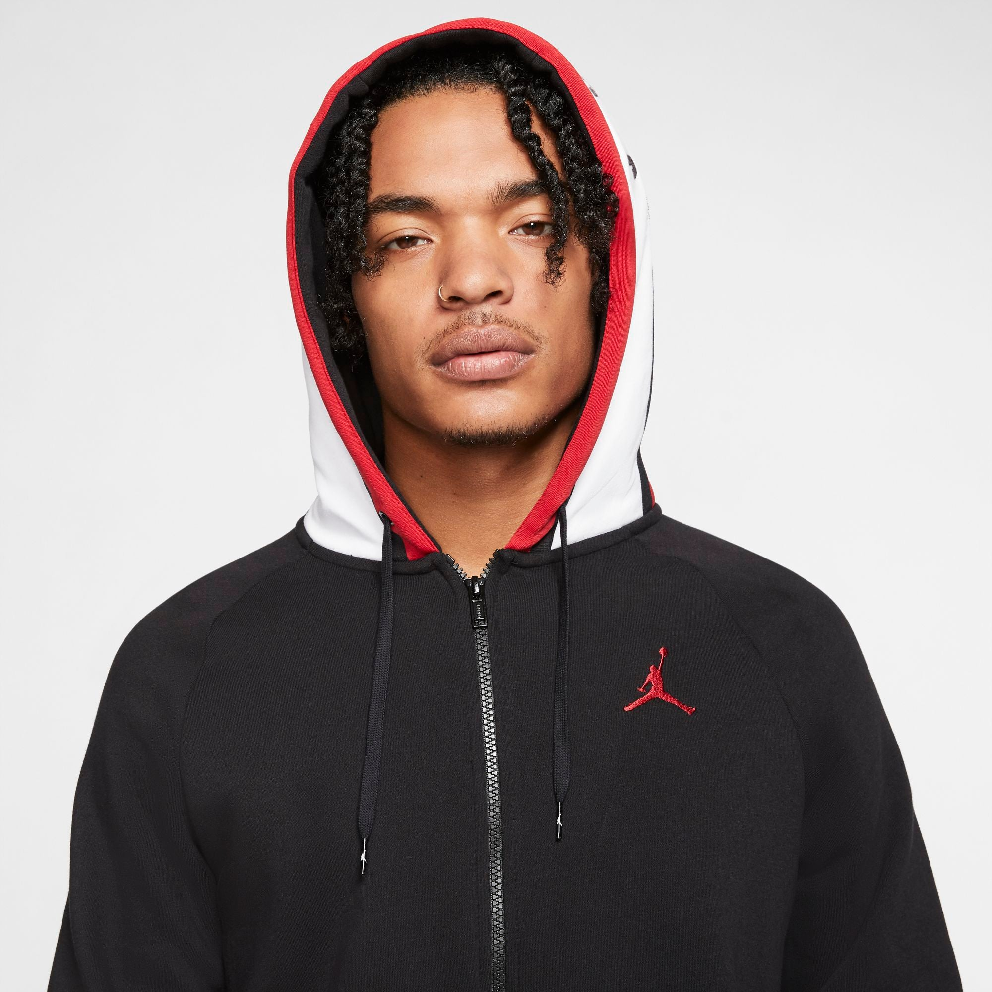 Nike Jordan Air Full-Zip Fleece Hoodie - Black/White/Gym Red