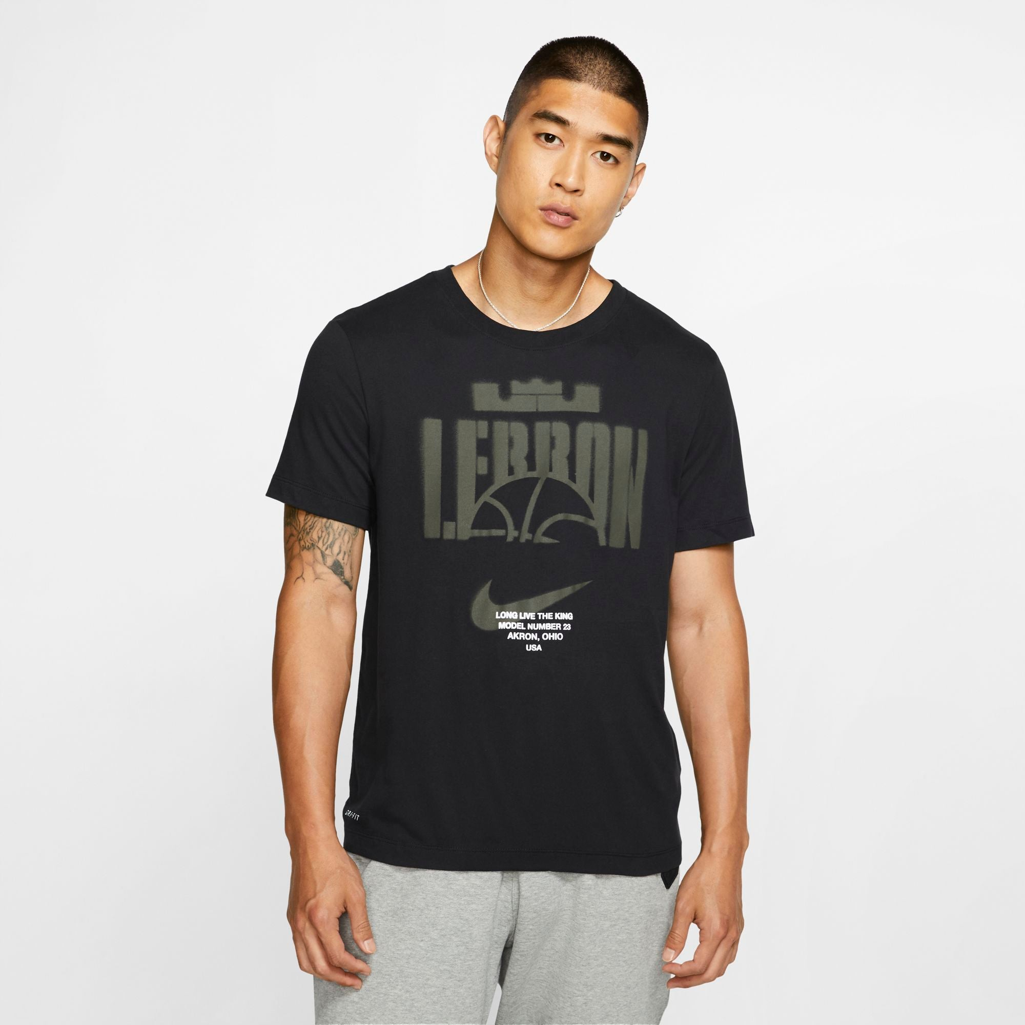 Nike Lebron Dri-fit Long-Live The King Basketball Tee - Black