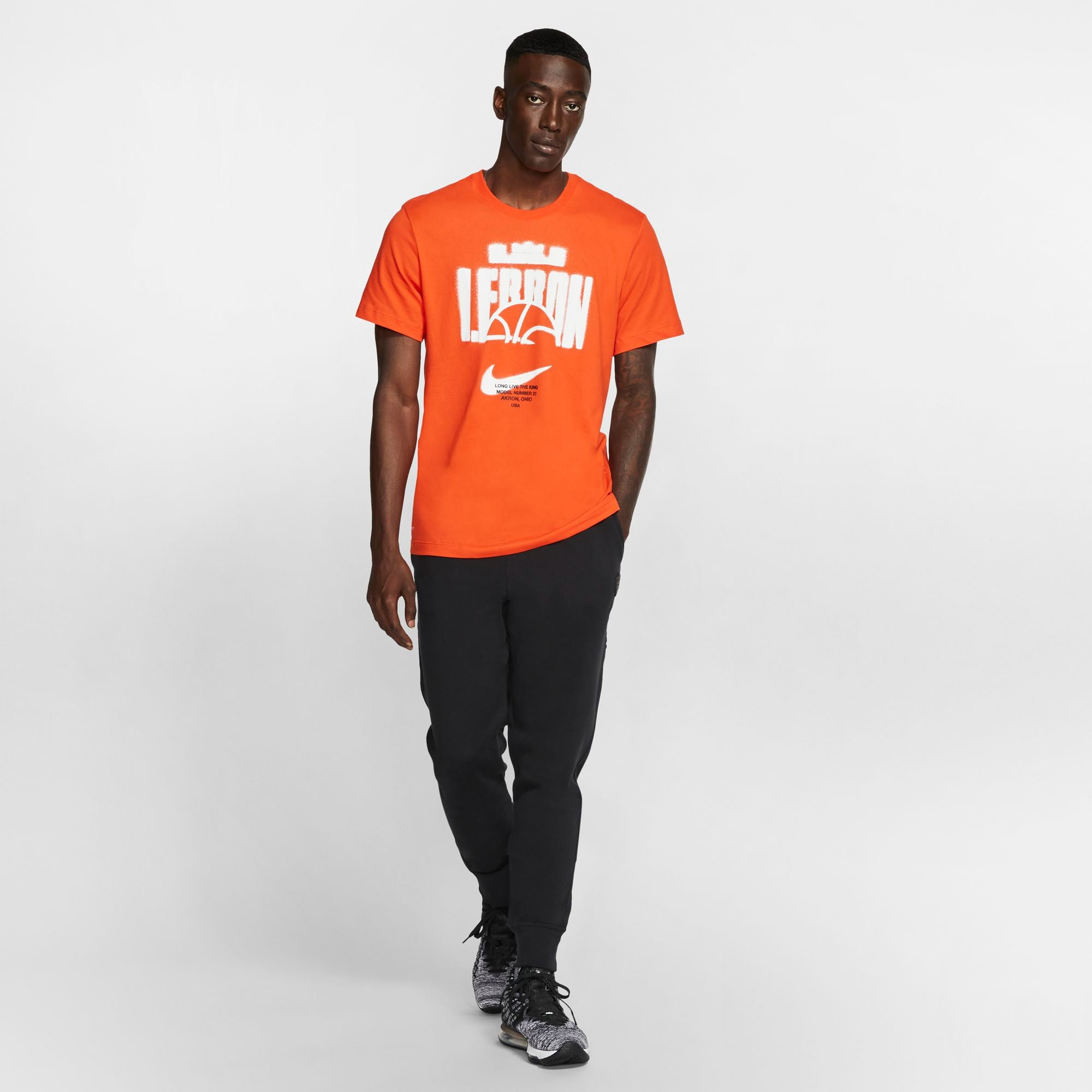 Nike Lebron Dri-fit Long-Live The King Basketball Tee - Team Orange