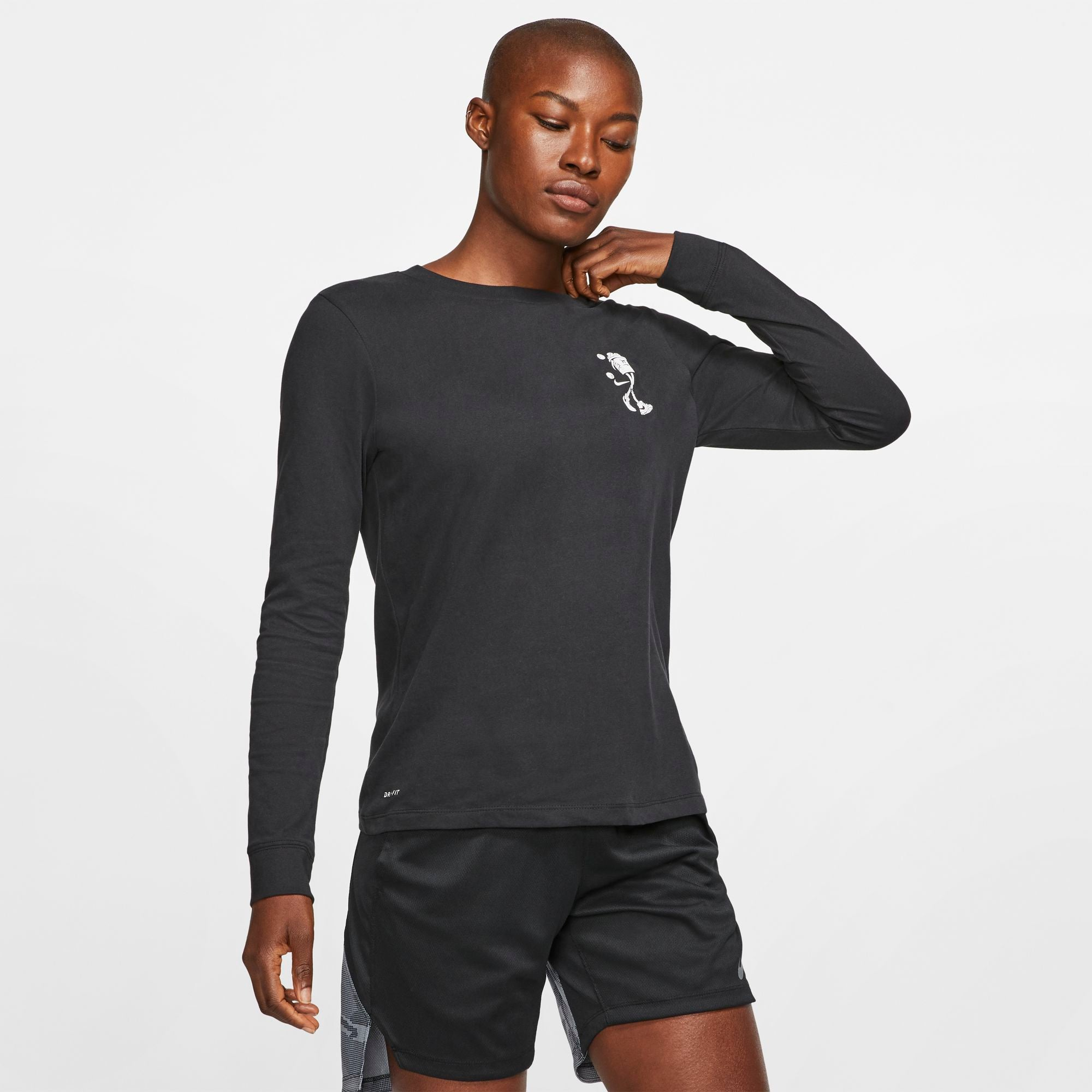 Nike Womens Basketball Dri-fit Long-Sleeved Tee - Black