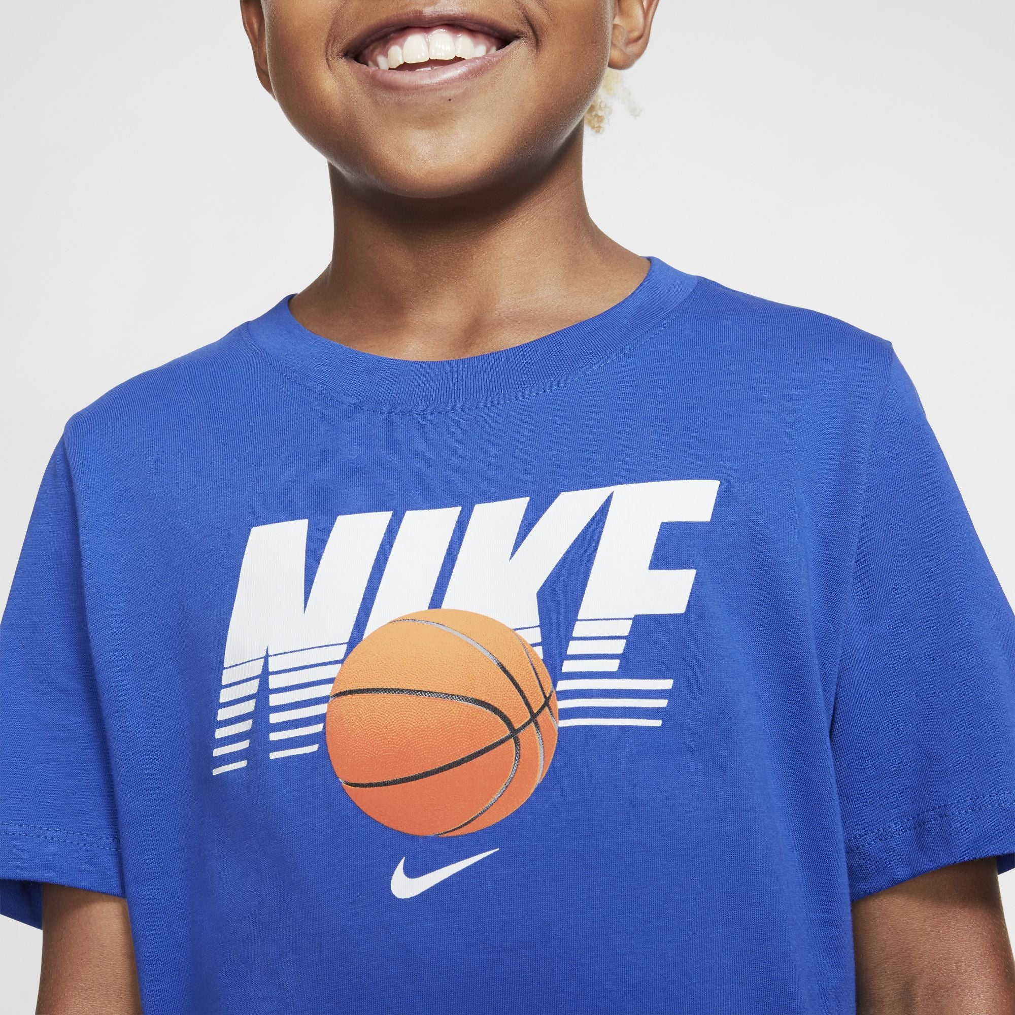 Nike Kids Straight Baller Textured Graphic Tee - Game Royal/White