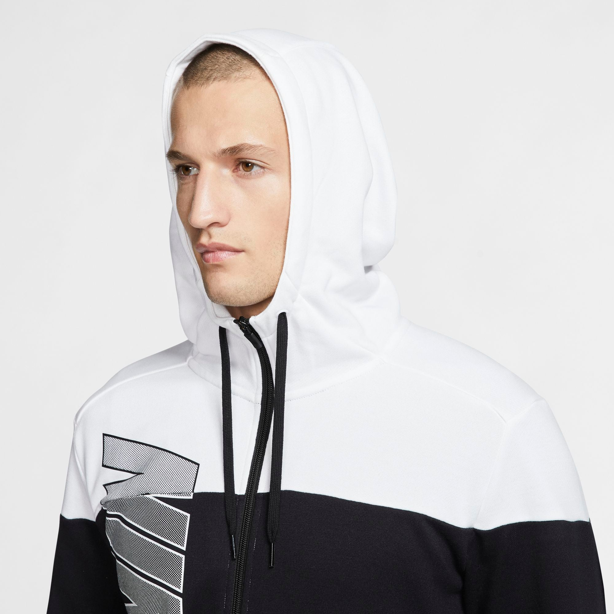 Nike Training Dri-Fit Full-Zip Fleece Hoodie - Black/White