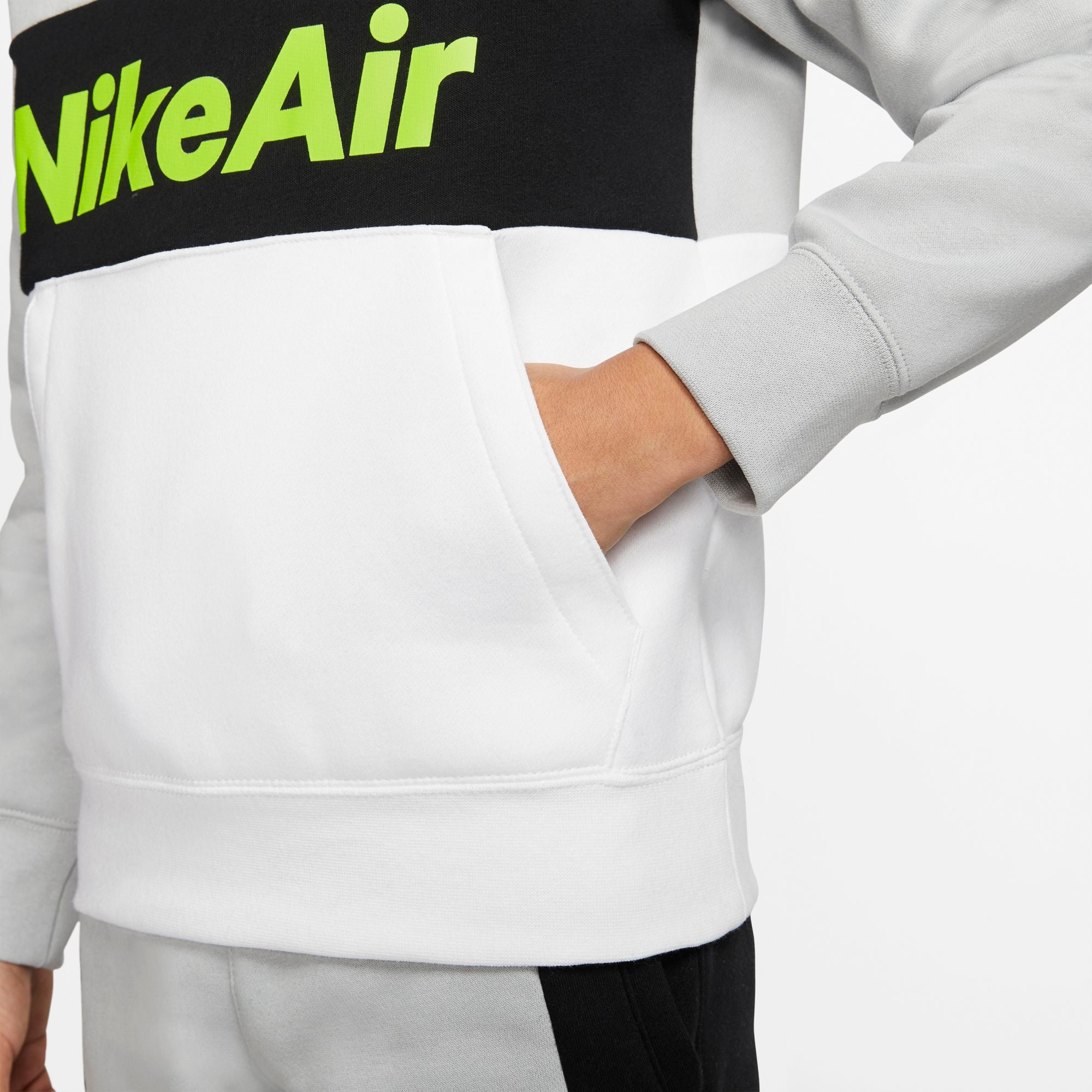 Nike Kids Air Pullover Fleece Hoodie - Light Smoke Grey/White/Black/Volt