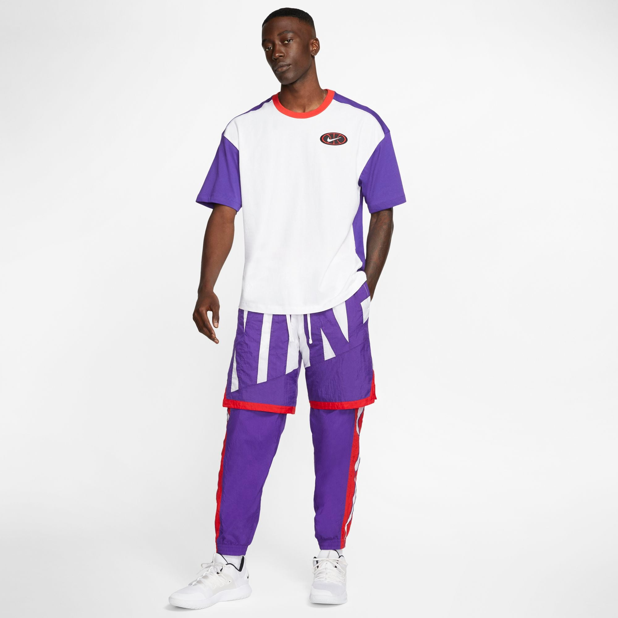 Nike Basketball Throwback 2.1 Tee - White/Court Purple/University Red