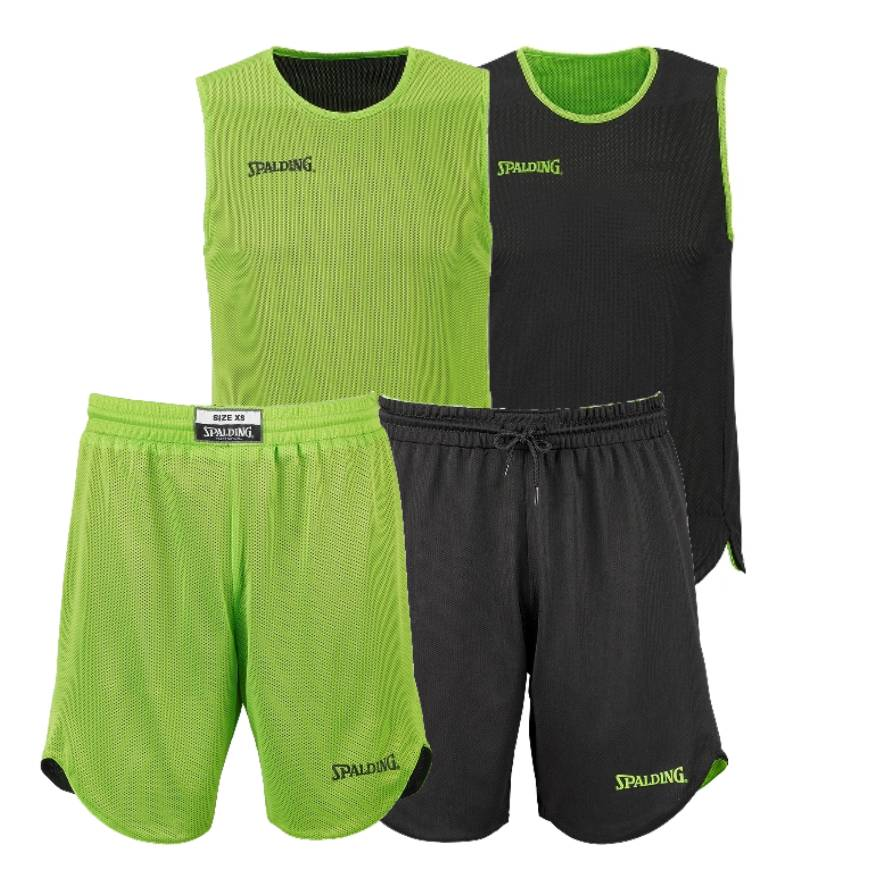 Spalding Kids/Youth Doubleface Reversible Basketball Kit - Green Flash/Black SP-300401004