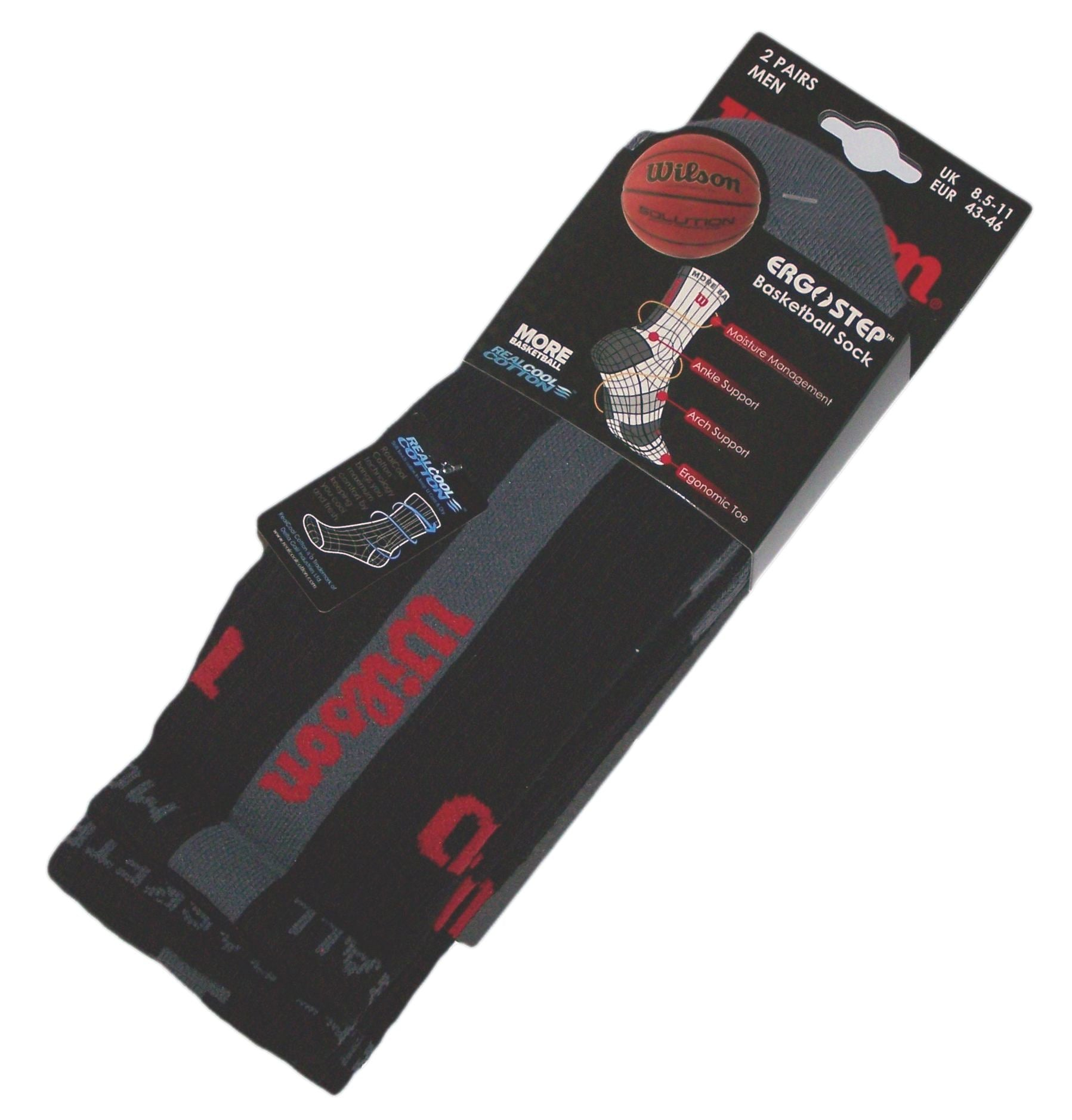 Wilson Ergostep More Basketball Crew Socks (2 Pair Pack) - Black/Grey/Red