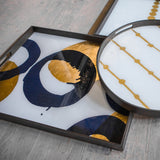 Gold & Blue Halos Tray - Large by ethnicraft